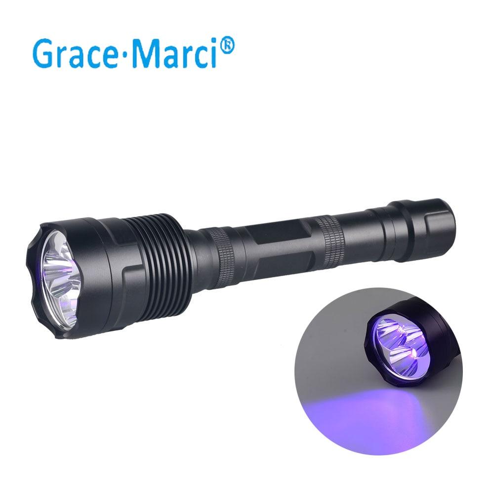 Linterna GM 365nm 395nm LED UV potente 30w luz negra luz UV Linterna 3 LED UV con batería 18650 ZWB2 filtro negro Linterna de luz de emergencia recargable multifunción LED 30/60/90 Mini 30 lámpara de luz LED de emergencia para campamento en casa al aire libre
