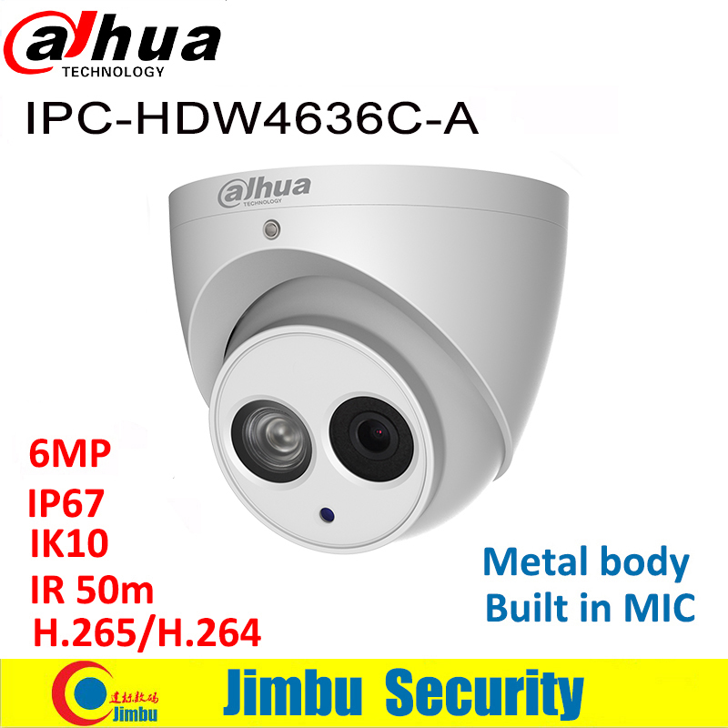 Dahua 6MP IP Camera  IPC HDW4636C A  Metal body H.265 Built in MIC IR50m IP67 IK10 Dome Camera Not POE Smart Detection-in Surveillance Cameras from Security & Protection