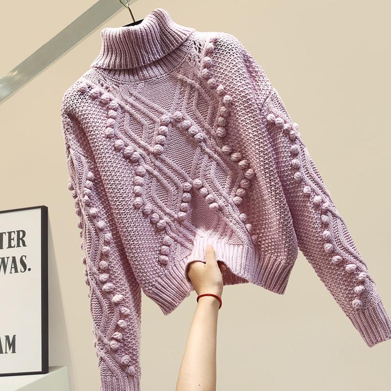 Autumn Winter Sweater Women Turtleneck Warm Sweater Hair Ball Knitwear Coat Loose Sweaters Jumper Femme Pullover
