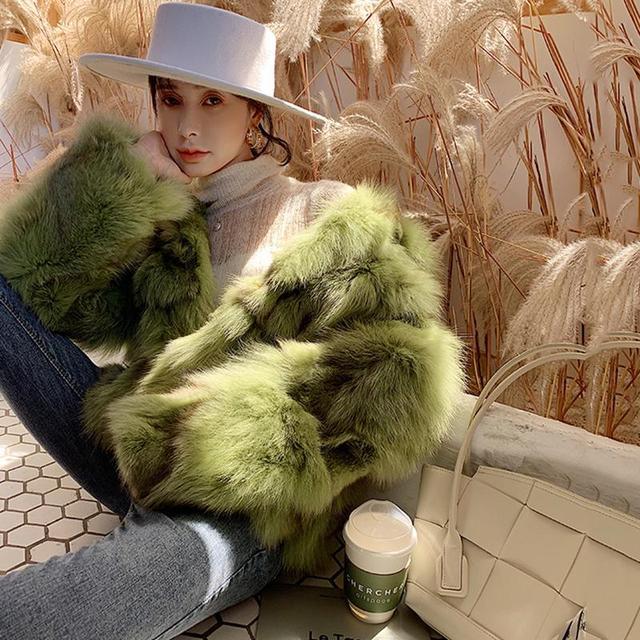 Blouson en fourrure de renard véritable   Pardessus en fourrure renard véritable, femme, chaud et à la mode, automne-hiver 2020, 100%