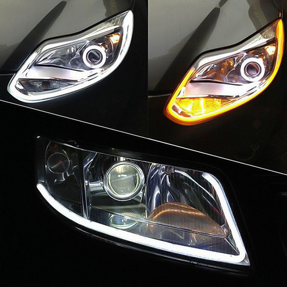 Car Daytime Running Light DRL Flexible Soft <font><b>Tube</b></font> Car LED Strip Turn Signal Lights For VW Polo Passat b5 b6 b7 b8 Golf 4 5 6 7 <font><b>T4</b></font> image