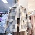 Женская куртка из смешанной шерсти, пальто с искусственным мехом, свободное теплое зимнее пальто, осень 2019