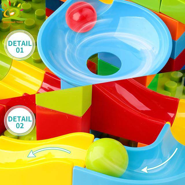 HUIQIBAO 151PCS/SET Ball Run Race Big Building Blocks Compatible Duploed large model Bricks kit Funnel Slide Toys For Children