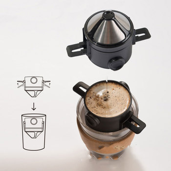 Coffee Filter Portable 304 Stainless Steel Drip Coffee Tea Holder Funnel Baskets Reusable Tea Infuser and Stand Coffee Dripper 2
