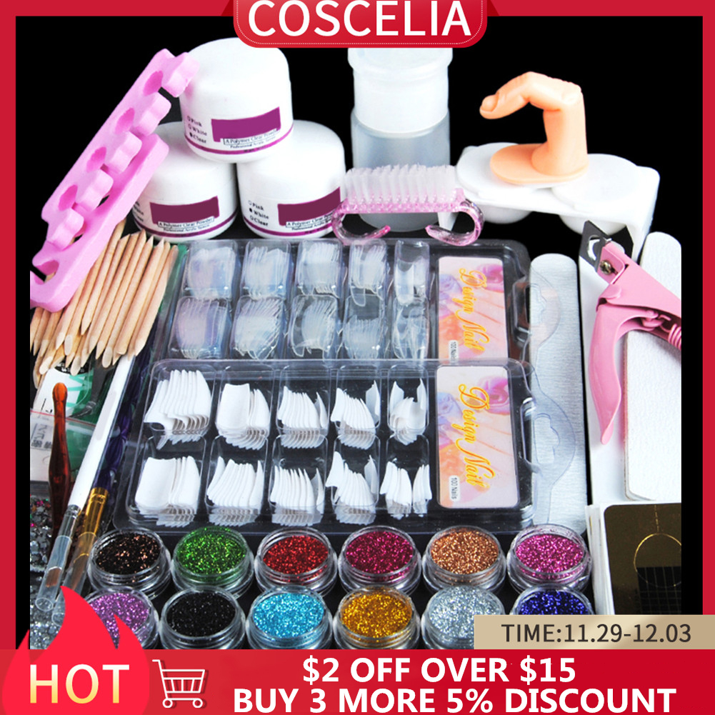 Acrylic Nail Art Kit Manicure Set 12 Colors Nail Glitter Powder Decoration Acrylic Pen Brush Nail Art Tool Kit For Beginners