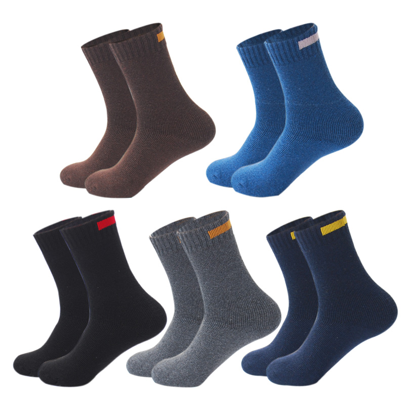 Downstairs 5pairs Lot Winter Warm Merino Wool Socks Men Eur38-44 With Cloth Strip Designer Solid Calcetines Gifts For Christmas