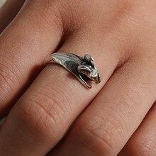 Anel de rato das mulheres meninas retro burnished rato animal anel jóias ajustável livre tamanho envoltório anel de ratos