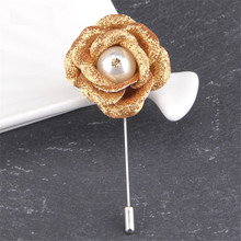 цена на Elegant Pearl Flowers Brooches Pins Jewelry Handmade Ribbon Boutonniere Wedding Brooch For Men Women Party Accessories