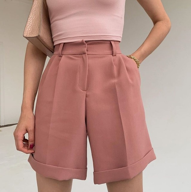 High Waist Shorts Women's Summer 2021 Elegant Soft Solid Color Loose Shorts with Pockets for Ladies Casual Short Femme Trousers 2