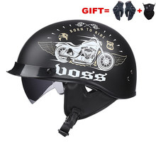 Black Vintage Motorcycle Helmet Open Face Helmet 2021 Dot Approved Half Helmet Retro Moto Casco Capacete Motociclistas Capacete