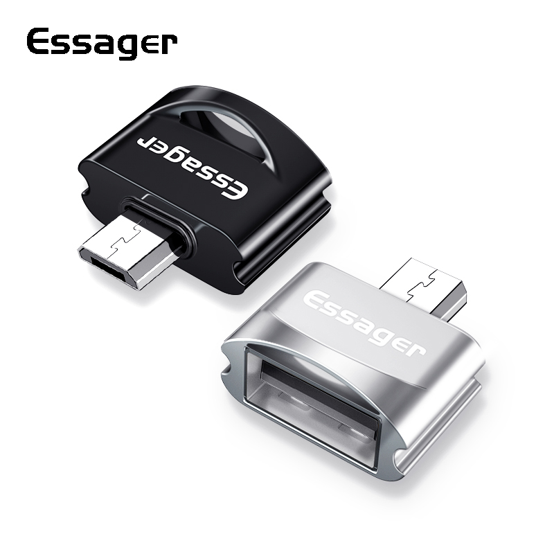 Essager Micro USB OTG Adapter Male To USB 2.0 Female Connector For Samsung A7 Xiaomi Redmi Note 5 Microusb OTG Converter Adaptor