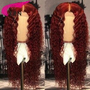 Image 3 - KRN 99J 13x6 dantel ön peruk insan saçı bordo renkli İnsan saç kıvırcık peruk ücretsiz bölüm brezilyalı dantel Remy peruk kadınlar için 180%