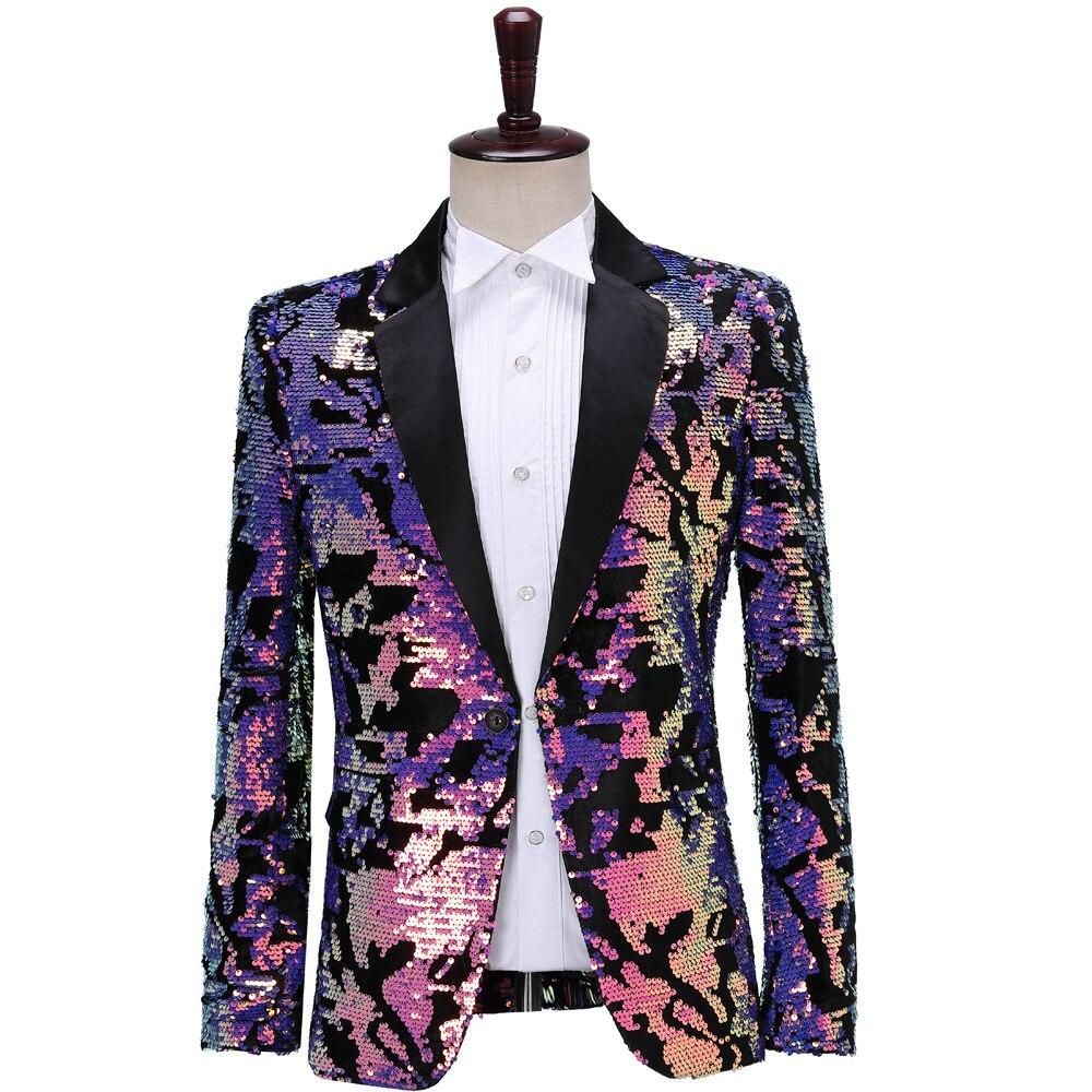 Men's Fashion Doubled Bright Surface Flash Small Suit Slim Fit Sequin Host Bar DJ Performance Suit Men Cool Coat