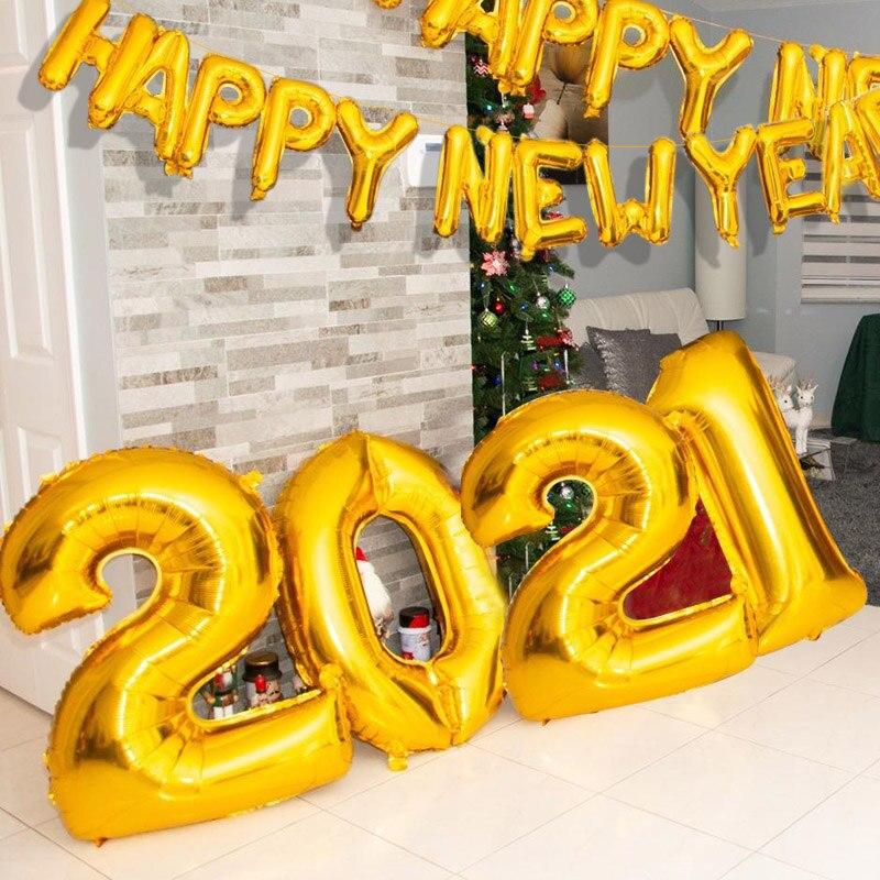 2021 globos rosa número plata oro globos de papel aluminio feliz año nuevo globo Feliz Navidad 2020 Año Nuevo decoración de fiesta de navidad Globos y accesorios    - AliExpress