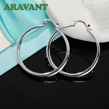 2020 New 925 Silver Hoop Earring For Women 40MM Round Circle Earrings Fashion Jewelry Gifts