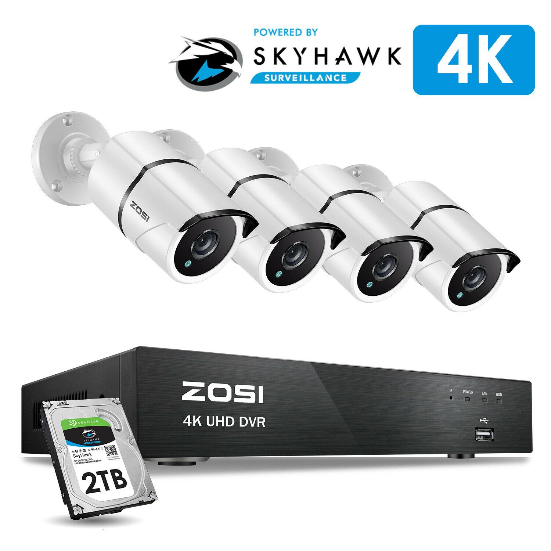 ZOSI Système de Surveillance vidéo Super HD 4K 8 canaux H.265 + DVR avec disque dur de 2 to et caméras étanches 4x4 K (8MP) Ip67
