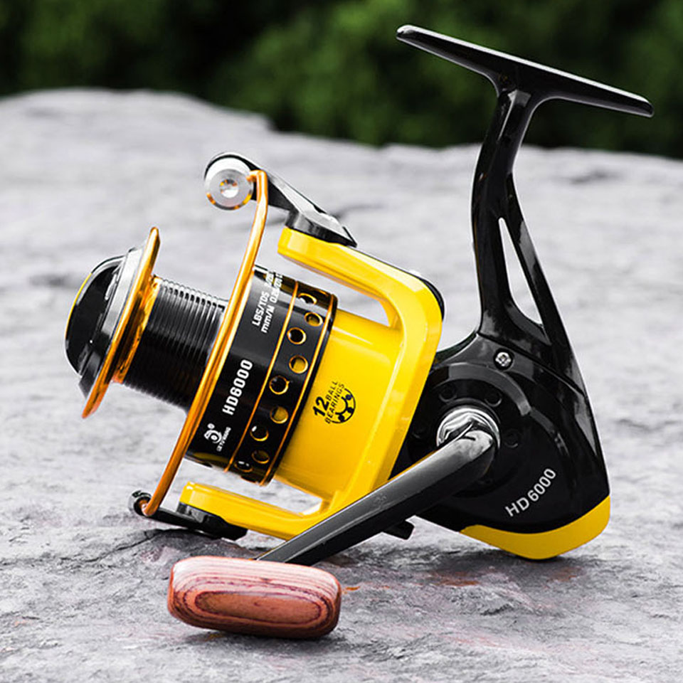 High Speed  5.2:1 Fishing Reel Yellow For Sea Fishing Rod Metal Fishing Reel Max Power|Fishing Reels| |  - title=