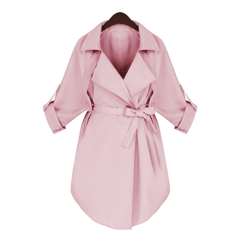 New Fashion Autumn Womens Trench Coat Sashes Turn Down Collar Full Sleeve Button Ladies Causal Streetwear Manteau Femme 2019