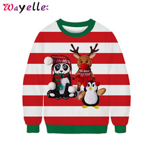 Christmas Womens Hoodies Pullover 2019 Christmas 3D Digital Print O-Neck Sweater Women Big Size Party Long Sleeve Women Sweater crew neck long sleeve 3d tiger print sweater