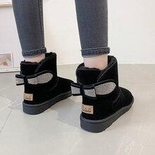 Женские зимние ботинки; уличная теплая обувь на меху; милые женские ботинки из флока без застежки; однотонные повседневные женские зимние ботинки с бантом, стразы