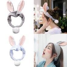 Women Girls Cute Rabbit Headband Elastic Turban Facial Mask Washing Face Tools