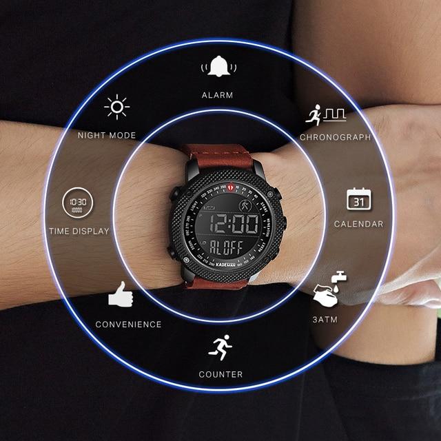 KADEMAN TOP Brand Luxury Men Watch LED Digital Display Sport Mens Watches Waterproof Military Fashion Male Leather Wristwatch