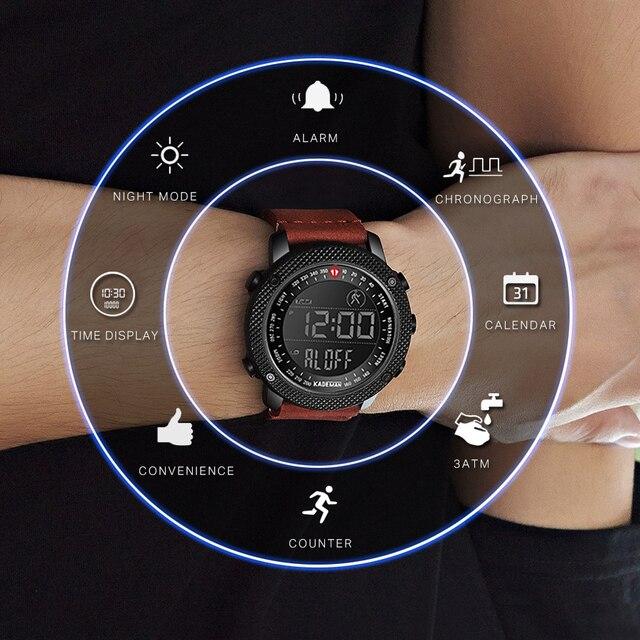 KADEMAN TOP Marca de Luxo Homens Relógio LED Display Digital Esporte Mens Relógios Militares À Prova D Água Moda Masculina relógio de Pulso de Couro