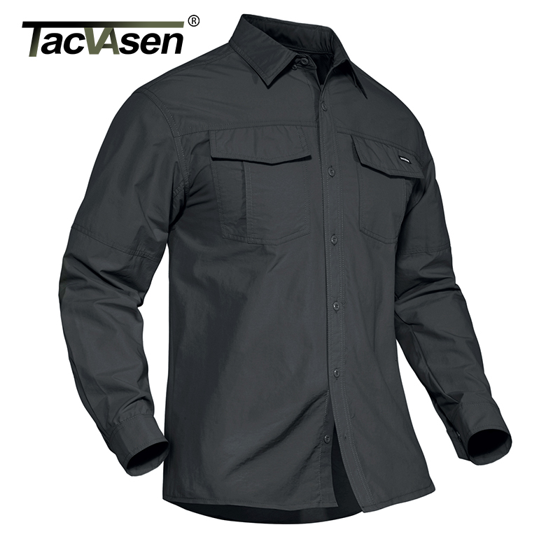 TACVASEN Summer Tactical Military Shirts Men Lightweight Quick Dry Cargo Work Shirts Long Sleeve Combat Army Shirts Fish Tops