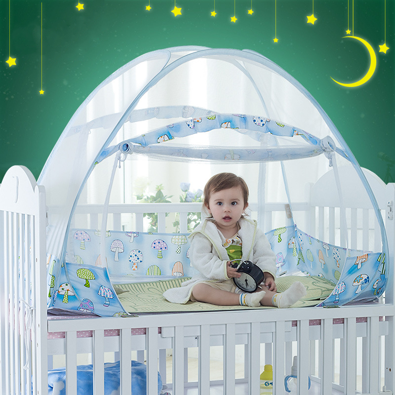 New Cartoon Mushroom Foldable Baby Crib Mosquito Net Portable Outdoor Bed Netting Safety Free-Installation Toddler Playing Tent