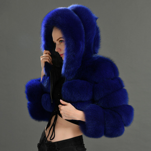 Image 5 - 2019 Winter Real Fox Fur Women Coats Natural Genuine Female Fox Fur Jacket High Quality Ladies Hooded Fur Coat