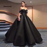 Haute Couture Black Chic Evening Dress Hippie Style Ball Gown Saudi Arabic Robe de soiree Off Shoulder Beaded Formal Prom Gown