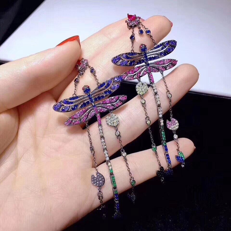 Multi couleur insecte libellule goutte boucle d'oreille longue 925 en argent sterling avec zircon cubique antique vintage 84*34MM mode