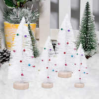 4pcs/set Pine Needle Little Trees Mini White Christmas Tree With Colorful Bells Christmas Tabletop Decoration for Festival Party