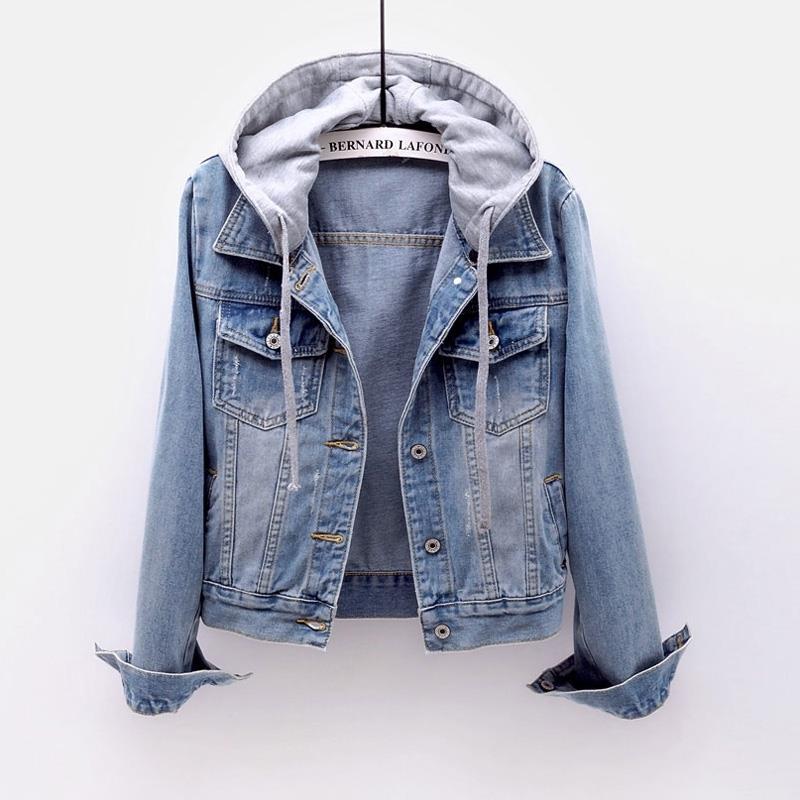 Idopy Womens Girls Casual Slim Fit Short Jacket With Hoodies Long Sleeve Coat Trucker Denim Jean Jacket Coat Blue For Women