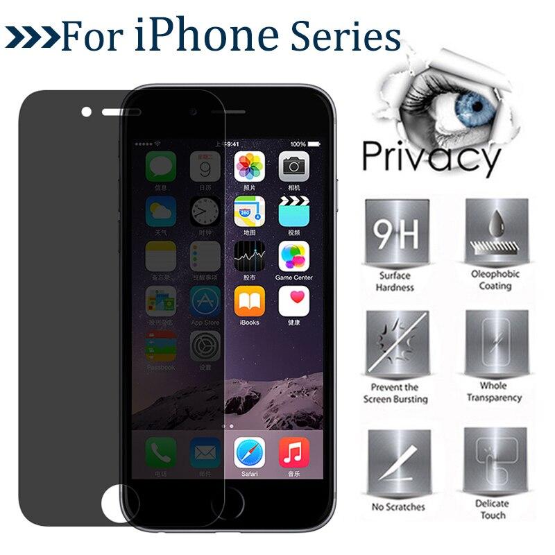 Protetor de tela de vidro temperado para iphone, proteção de privacidade mágica para iphone x xr xs max 5 6 s se 7 8 plus 9h