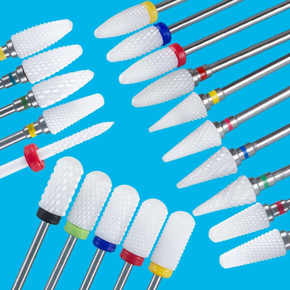 Фреза для маникюра керамическая Feecy, Фреза для маникюрного аппарата, пилочка для аппаратного маникюра и педикюра, комплект фрез для полировки ногтей