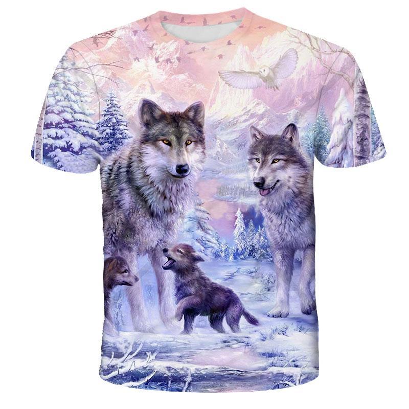Lovers Wolf Printed T shirts Men 3d T-shirts Drop Ship Top Tee Short Sleeve Camiseta Round Neck Tshirt Fashion Casual Brand 4