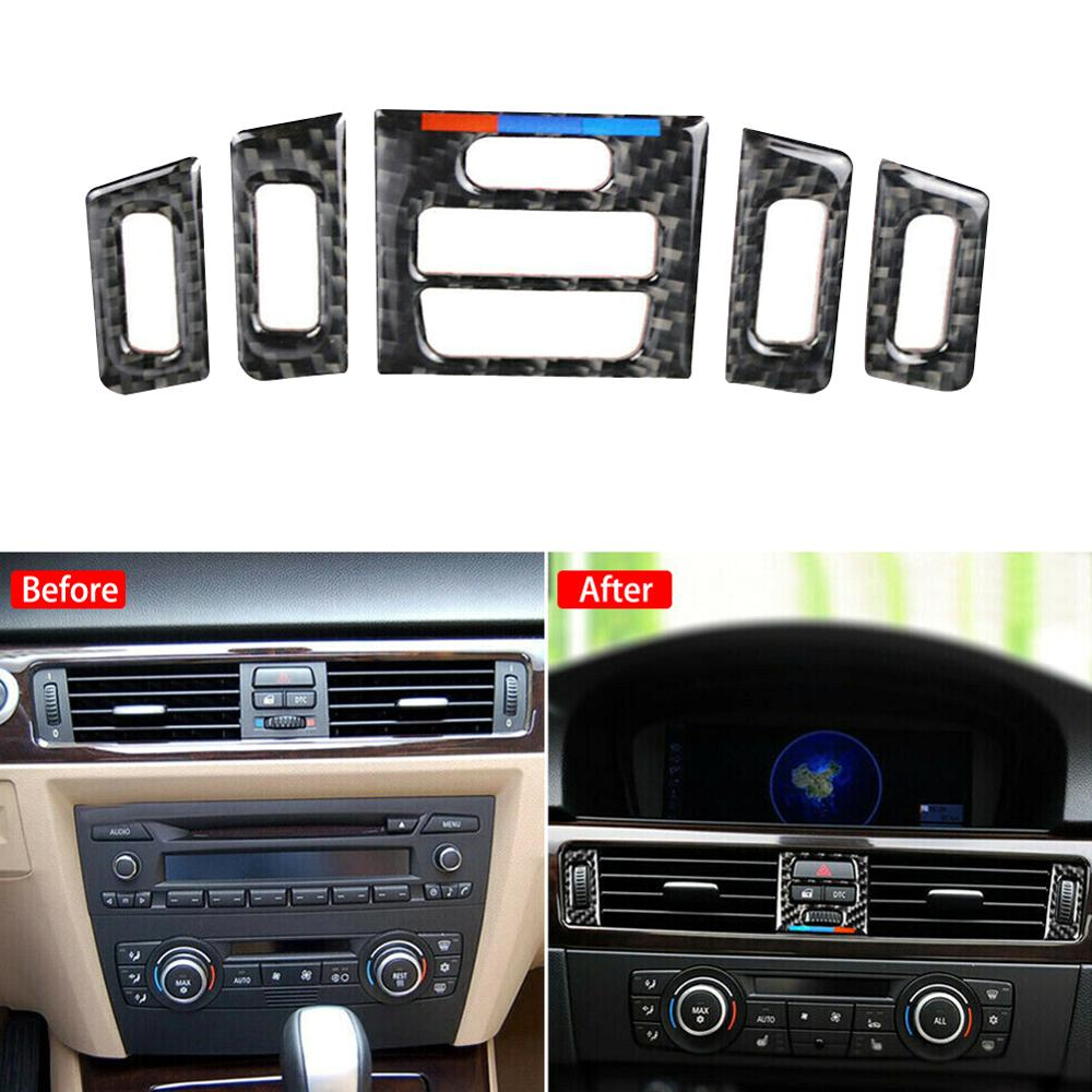 For <font><b>BMW</b></font> <font><b>E90</b></font> E92 E93 Car Air Vent Outlet <font><b>Interior</b></font> Trim <font><b>Carbon</b></font> <font><b>Fiber</b></font> Accessories image