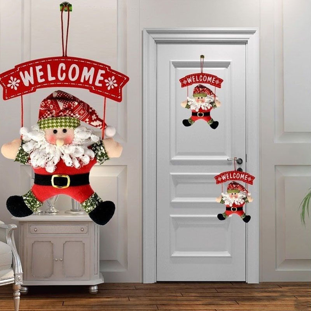 1Pcs Santa Claus Door Hanging Christmas Tree Christmas Decorations For Home Outdoor Non-woven Hanging Pendant  Ornament Gifts