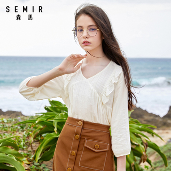 SEMIR Women long sleeve shirt 2020 new V-neck cute blouse fresh sweet thin top white blouse princess недорого