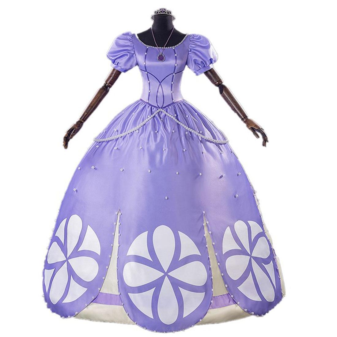 2019 Newest Fancy Halloween Costumes For Adult Women Sofia The First Princess Sofia Cosplay Costume Purple Sofia Dress Custom Ma
