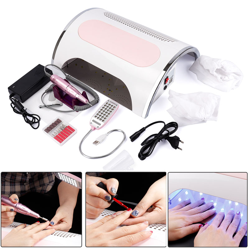 54W Nail LED UV Lamp Vacuum Cleaner Suction Dust Collector 25000RPM Drill Machine Pedicure Remover Polisher Nail Tools