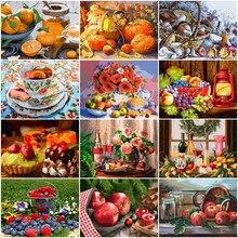 HUACAN malowanie numerami owoce rysunek na płótnie ręcznie malowane malarstwo prezent artystyczny DIY zdjęcia numerami zestawy kwiatowe Home Decor