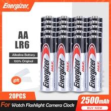 20 adet Energizer 1.5V AA alkalin pil LR6 el feneri uzaktan kumanda oyuncaklar saat termometre 2A 2500mAh kuru birincil pil