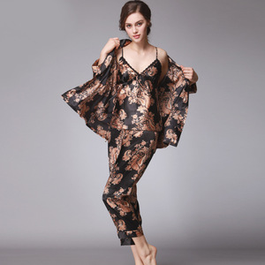 Image 4 - QWEEK seksi uyku salonu 3 adet v yaka kadın pijama seti zarif baskı uzun kollu pijama kadın pijama kadın kıyafeti