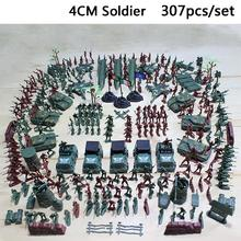 GloryStar 307pcs/lot Military Plastic Soldier Model Toy Army Men Figures Accessories Kit Decor Play Set