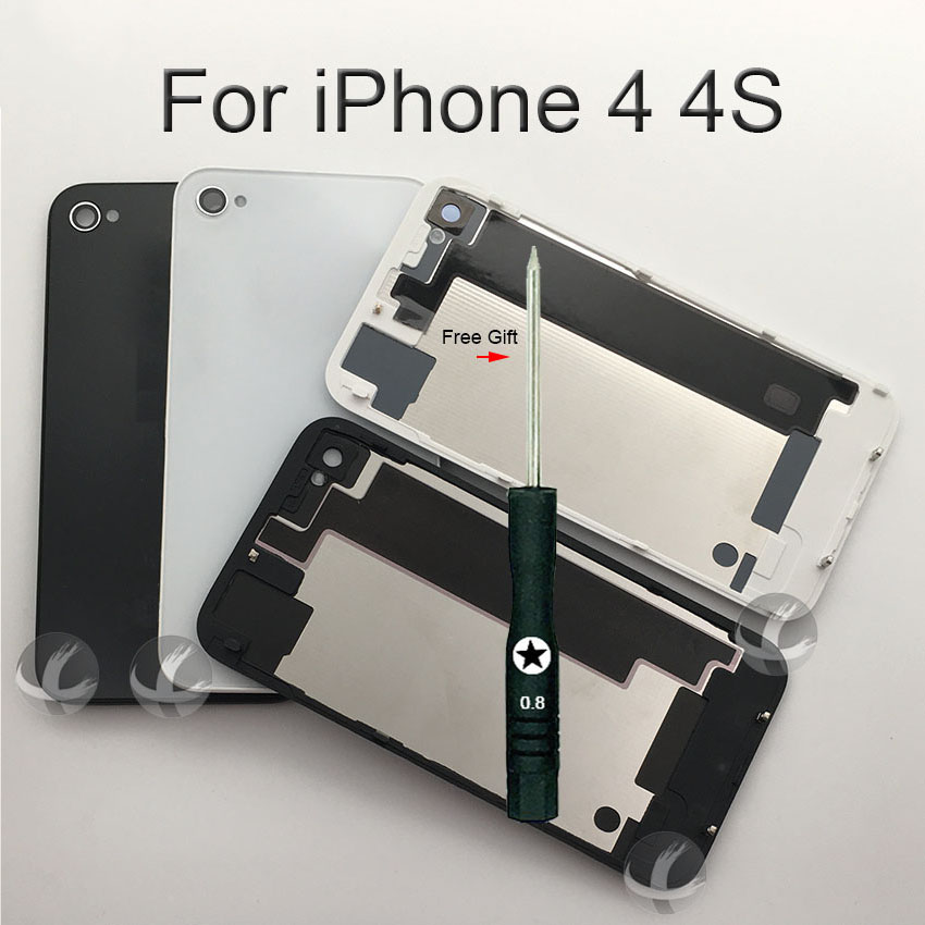 All New Back Housing For IPhone 4 4S Back Battery Cover Door Rear Glass Replacement Spare Parts With Free Gift