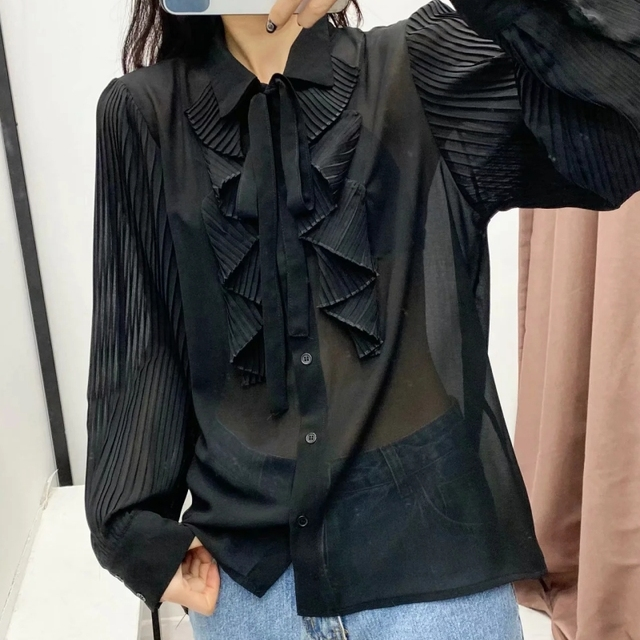 Spring Women Cascading Ruffle Black Chiffon Shirt Female Long Sleeve Blouse Office Lady Loose Tops Blusas S8638 3