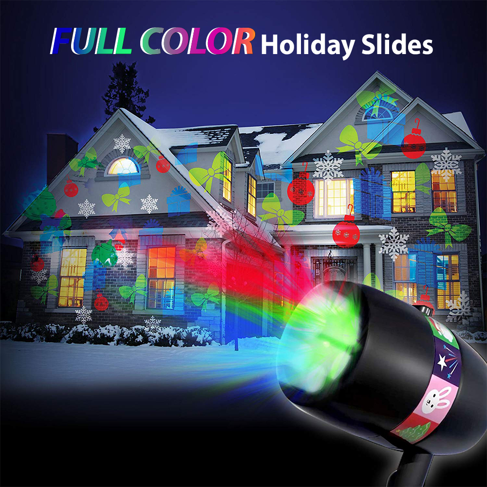 Inghoo LED Stage Laser Light Projector Outdoor Indoor Decor Lighting For Home Garden 12 Pattern Cards Holiday Christmas Disco