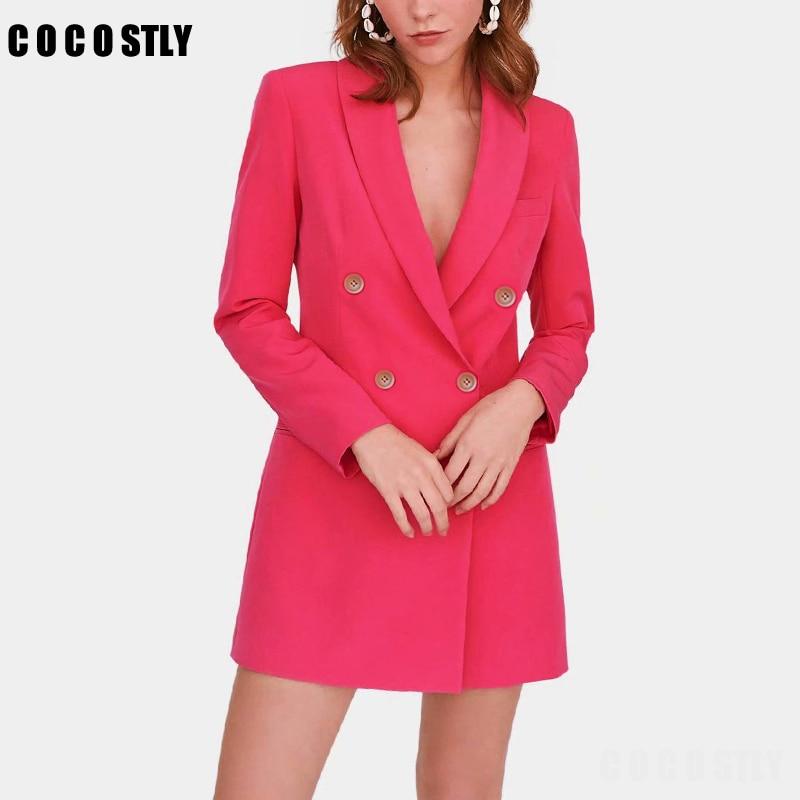 2019 Autumn Chic Women's Jacket Blazer Solid Pockets Double Breasted Long Office Lady Wear Coat Female Outerwear Tops Feminino